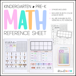 kindergarten math reference sheet product image